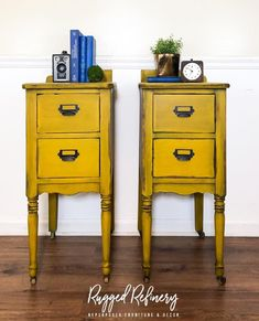 Need a color with personality?  Turmeric!  Dark wax and distressing added for drama and depth by Rugged Refinery.  #wiseowlpaint #yellow #mustard #painted #furniture #side #tables