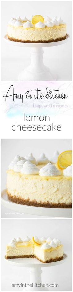 Lemon Cheesecake with Lemon Curd Topping Lemon Cheesecake Recipes, Cheesecake Desserts, Lemon Desserts, Lemon Recipes, Cookie Desserts, Just Desserts, Delicious Desserts, Free Recipes, Dessert Drinks
