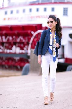 Nautical navy + cork (plus two ways to fold a square scarf!)