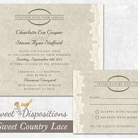 DIY Printable Wedding Invitation and RSVP - Burlap and Lace Country Vintage