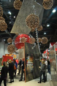 Formica trade show booth at IBS 2013 (White woven balls with white xmas lights)