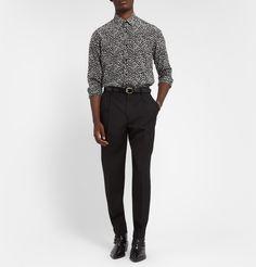 Saint Laurent - Tapered High-Waist Wool-Twill Trousers|MR PORTER