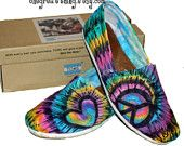 Tie Dye TOMS Peace Sign Shoes - hand dyed and custom made by One Great Thing