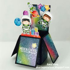Hi there, today I& sharing a box card I made with the adorable Space Explorers stamp set from MFT Stamps. I stamped and colored t. Boy Cards, Kids Cards, Box Cards Tutorial, Exploding Box Card, Pop Up Box Cards, Wink Of Stella, Interactive Cards, Mft Stamps, Copics