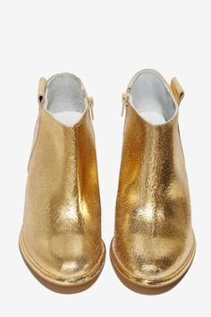 Gold Crackled Leather Bootie