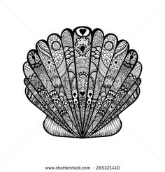 Zentangle stylized black sea shell. Hand Drawn doodle vector illustration. Sketch for tattoo or makhenda. Seashell collection. Ocean life.