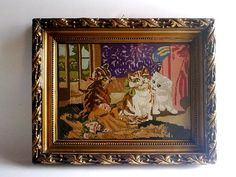 20% OFF Antique Embroidered Three Cats by EasternEuropeVintage