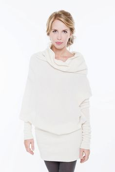 SPECIAL PRICE OFFER Off-white woolen asymmetric long by LeMuse