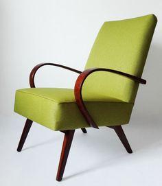 Restored chair Czechoslovakia design, beech wood, green upholstery