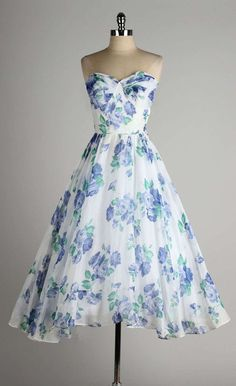 Vintage 1950's Fred Perlberg Blue Roses Strapless Cocktail Dress | From a collection of rare vintage evening dresses at https://www.1stdibs.com/fashion/clothing/evening-dresses/