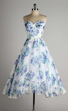 Vintage 1950's Fred Perlberg Blue Roses Strapless Cocktail Dress