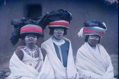 Africa | Three married Mfengu women in beautiful headdress. Eastern Cape - Transkei. South Africa. | Lister Haig Hunter.