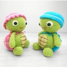 Tommy and Tammy Tortoise amigurumi pattern by Janine Holmes at Moji-Moji Design