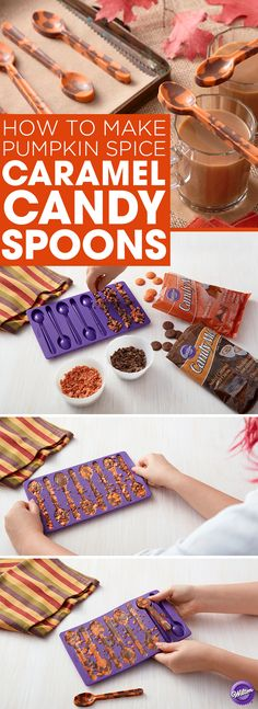 How to Make Pumpkin Spice Caramel Candy Spoons - No flavors represent fall like pumpkin spice and salted caramel…and when you put them together, tasty things happen! Chop Pumpkin Spice Candy Melts and Salted Caramel Hot Cocoa Candy Melts and place in the Wilton Candy Spoon Mold. Microwave mold and refrigerate for about 30-45 mins.  Carefully remove candy spoons from mold. Serve with a hot pumpkin spice latte or a bowl of cinnamon ice cream.