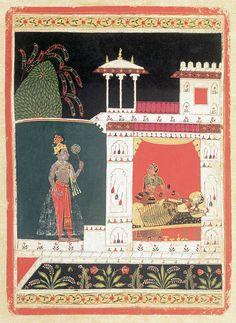 Paradhin Nayika - the heroine who succumbs totally to her lover. Rasavali of Puhakar. Malwa, ca. National Museum of New Delhi Mughal Miniature Paintings, India Painting, Islamic Paintings, Indian Pictures, New Delhi, Central Asia, National Museum, Indian Art, Traditional Art