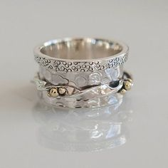 Dha Spinner Ring - Meditation Ring - Anti Stress Ring - Three Metal Rings - Multi Metal Ring - Mixed Metal Ring - Unisex Ring - Yoga Ring - Another! Big Rings, Small Rings, Tribal Jewelry, Silver Jewelry, Gold Jewellery, Sterling Silver Rings, Gold Rings, Meditation Rings, Jewelry Rings