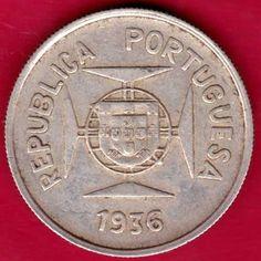 PORTUGUESE INDIA GOA - 1936 - HALF RUPIA - RARE COIN P48