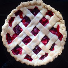 Cherry and apple pie with lattice top. Pinch of ginger, and a dash of cinnamon