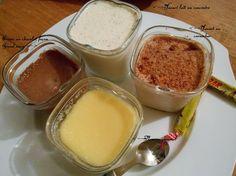 De délicieux desserts lactés maison: Yaourts (aux Carambar, fraises Tagada etc...), crème dessert, riz au lait, Flans caramel...