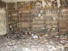 Destroyed books at Beth Israel Congregation after Hurricane Katrina. Lakeview, New Orleans