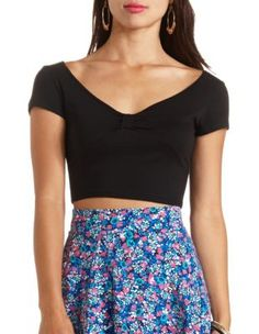 cinched bow-front short sleeve crop top
