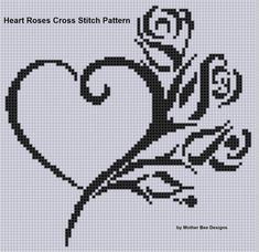 Heart Roses Cross Stitch Pattern