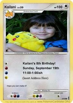 Website where you can create your own pokemon cards to use as party invites. I hope he doesn't choose this but at least I have it if he does.