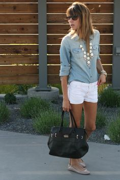 denim shirt, white shorts