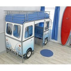 VW bed with desk and seating area. great for a kids room! (would be super cool in a vacation house. a few different ones of these in the kids room. all diff colors of course! Boy Room, Kids Room, Cool Kids Bedrooms, Awesome Bedrooms, Modern Bunk Beds, Kids Bunk Beds, Built In Desk, Built Ins, Volkswagen Bus