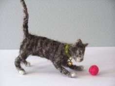 Gray Tiger Kitten   Needle Felted cat by woolinlegends on Etsy, $22.00