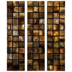 """Set of 3 Galactic 40"""" High Textured Triptych Wall Art -"""