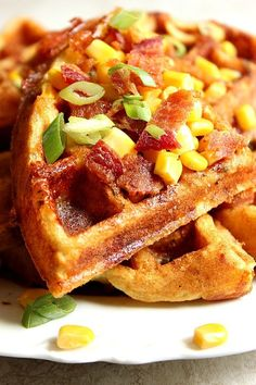 Cheddar Bacon Cornbread Waffles Recipe - savory take on waffles, filled with crispy bacon, freshly grated cheddar cheese, sweet corn and nicely seasoned with Ranch mix! So good as lunch and dinner too (Mug Recipes Omlet) Cornbread Waffles, Bacon Waffles, Cheese Waffles, Savory Waffles, Cheddar Cheese, Cheese Toast, Pasteles Light, Brunch Recipes, Breakfast Recipes