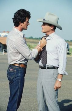 Patrick Duffy and Larry Hagman film 'Dallas,' 1980 -- Getty Images Classic Series, Classic Tv, New Series, Patrick Duffy, The Fall Guy, Dallas Tv Show, Larry Hagman, Linda Gray, Texas
