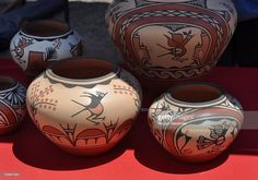 Pottery by acclaimed Native-American artist Ruby Panana from Zia Pueblo are among the artworks for sale at the 2011 Santa Fe Indian Market in Santa Fe, New Mexico.