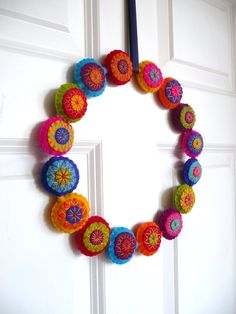 Colorful felt wreath by HetBovenhuis on Etsy, $59.99