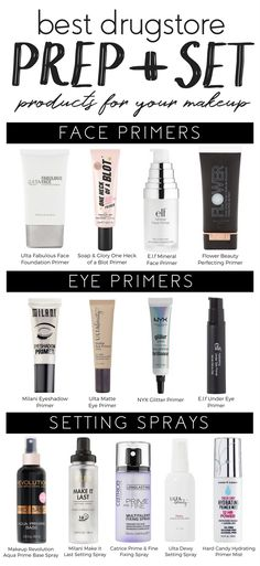 Looking for affordable prep and set products? Look no further than this guide with the best drugstore prep + set products for your makeup!
