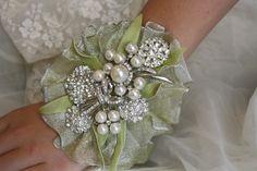 Wrist Corsage- Brooch Wrist Corsage-Wedding Bridal Jewelry- Wedding Corsage-Mothers of the Bride & Groom Gift  Wedding Corsage. $39.00, via Etsy.