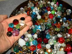 NEW Jesse James 200 Large 6-20mm Faceted crystal glass BEADS Random Mixed different sizes, shapes, & colors