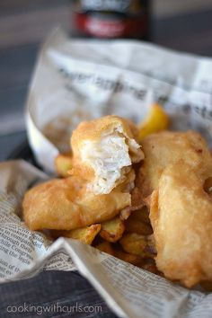 This traditional-style, light and flaky Beer Batter Fish is served along side Homemade French Fries for the perfect comfort food meal! Homemade French Fries, Homemade Chips, Beer Recipes, Fish Recipes, Seafood Recipes, Vegetarian Recipes, Recipies, Healthy Recipes, Fish Dishes