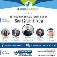 Seo Eğitim Zirvesi - Türkiye'nin En iyi Eğitmenlerinden Eğitim Alma Fırsatı Alanında ünlü eğitmenler, %100 öğrenme garantisi, biletler tükenmeden Seo Eğitim Zirvesi'ndeki yerinizi hemen ayırtın. http://www.seoegitimzirvesi.com