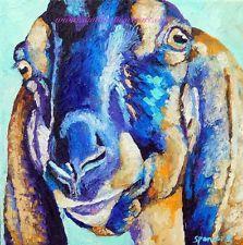 Original Oil Painting Nubian Goat Art 10x10 Farm Animal