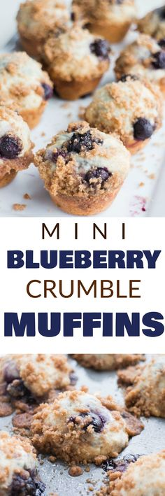 BEST MINI Blueberry Muffins with crumble topping! This easy recipe makes moist mini muffins packed with 1 cup of blueberries! The cinnamon sugar stresusel is delicious and is my favorite part! Serve these for breakfast, dessert or a snack!