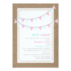 Gingham Bunting Gender Reveal Party Invitation