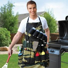 Find Me a Gift's hilarious Grill Sergeant BBQ Apron. Great novelty aprons for men making super Birthday gifts and Father's Day presents. Grill Apron, Bbq Apron, Hammacher Schlemmer, Cool Kitchen Gadgets, Cool Kitchens, Awesome Gadgets, Kitchen Stuff, Barbecue Grill, Grilling