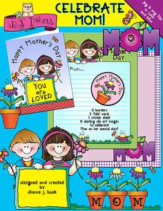 'Celebrate Mom' this Mother's Day with this adorable activity download!  Mother's Day printables, family clip art, Mom, Mother's Day cards
