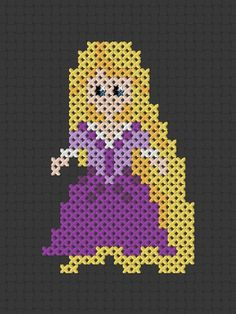 Pixel Princess - Rapunzel Printable Cross Stitch Pattern (PDF) - Immediate Download from Etsy -  Easy Simple Needle Craft.  Many of the Disney princesses are represented.