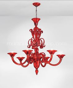 Red chandelier at six lights