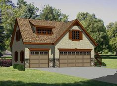 Great detached garage plan with no super crazy roof lines - make top into office/studio and open up floor plan. And somehow connect to existing house...