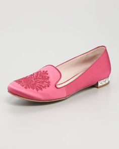 Miu Miu Satin Embroidered Loafer - love these in black!