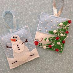 Christmas Felt Handmade Ornaments Scenes